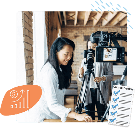 a collage of two girls shooting a recipe video, an analytics icon, and a course tracker icon