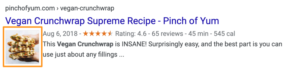 Google Search result for 'vegan crunchwrap supreme' with the picture highlighted