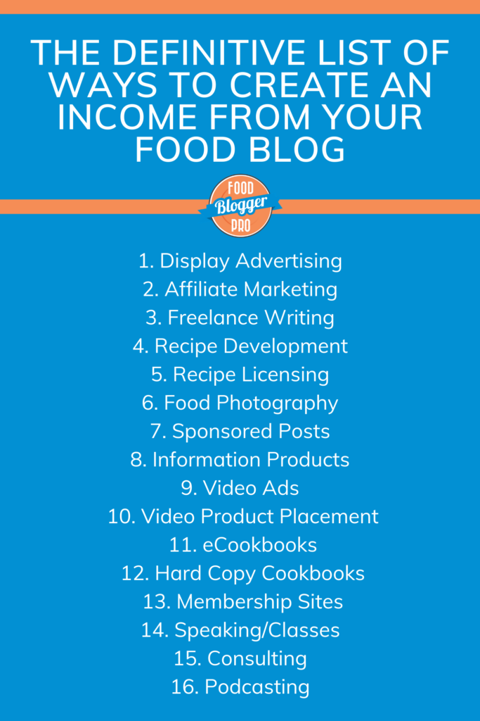a list of the 16 ways you can make money as a food blogger on a blue background with the Food Blogger Pro logo