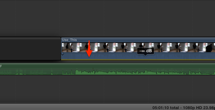 Mute the Audio Level in FCPX