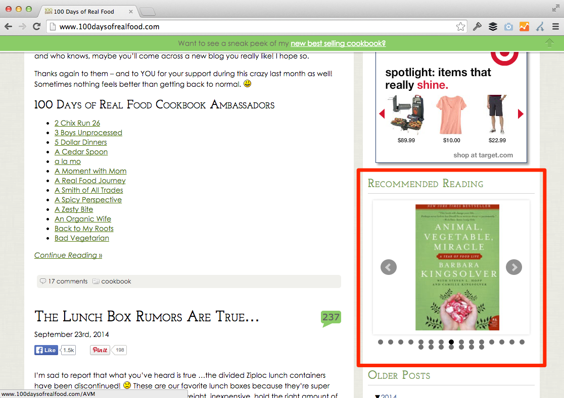 100 Days of Real Food 'Recommended Reading' widget highlighted in red