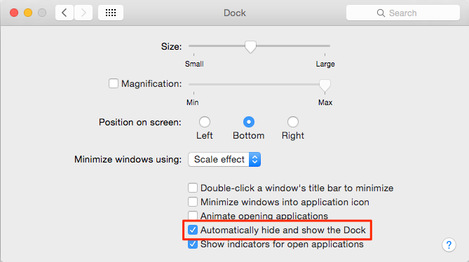 Screenshot of Dock that has 'Automatically hide and show the Dock' outlined in red