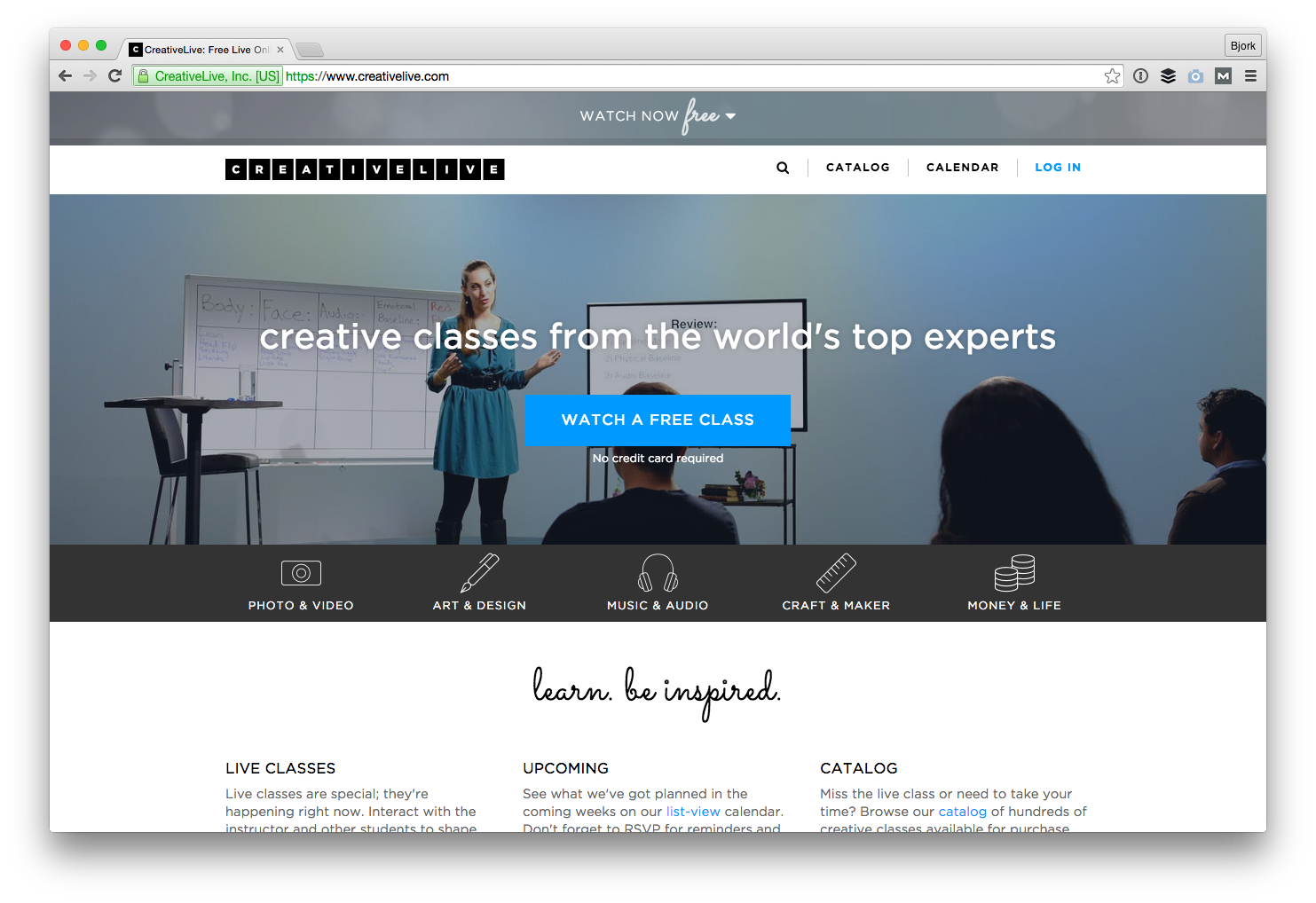 Screenshot of CreativeLive that reads 'Creative classes from the world's top experts'