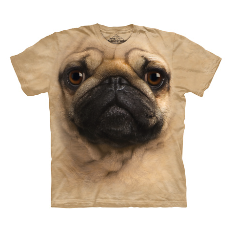 Beige t-shirt with a pug face on it