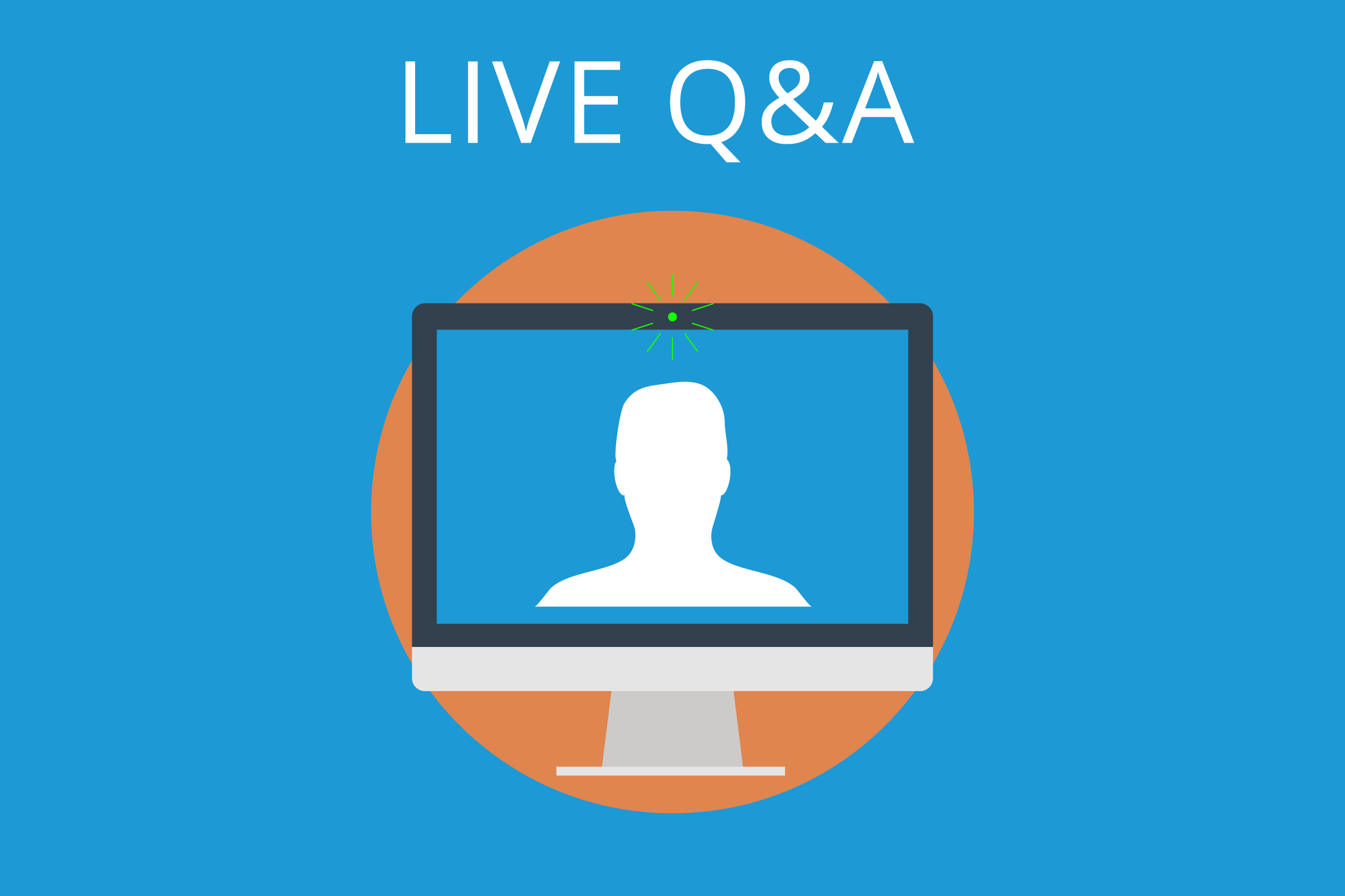 blue rectangle with a computer and it says Live Q&A