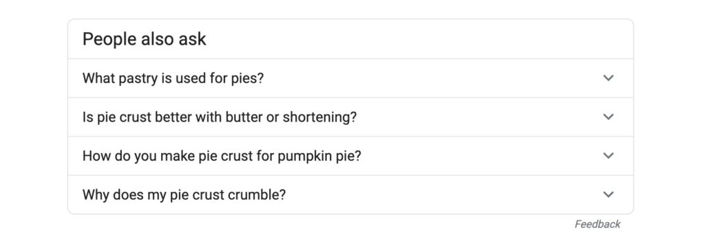 People also ask box on Google search result for Pie Crust