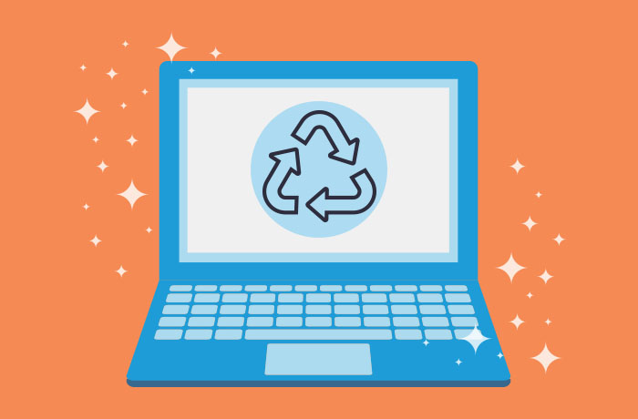 Graphic of blue laptop in front of an orange background with a recycle graphic on the screen