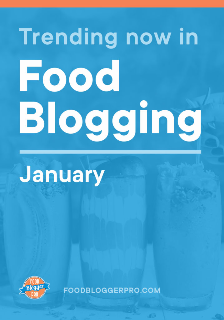 Blue graphic of drinks that reads 'Trending Now in Food Blogger - January' with the Food Blogger Pro logo