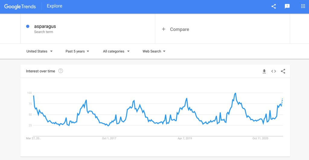Asparagus search term on Google Trends