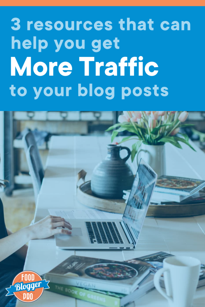 a photo of a computer on a desk with the title of this article, '3 resources that can help you get More Traffic to your blog posts'