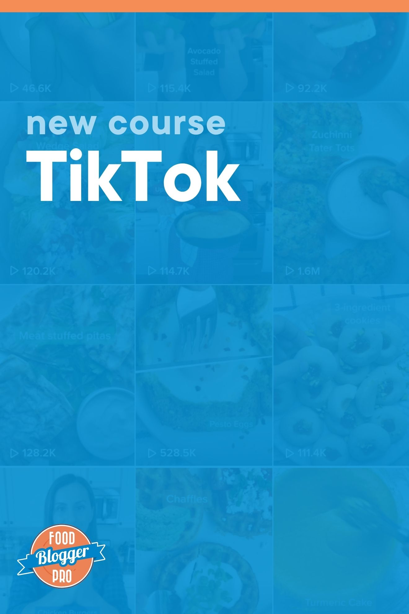 Blue graphic of Tiktok feed that reads 'New Course: TikTok' with Food Blogger Pro logo