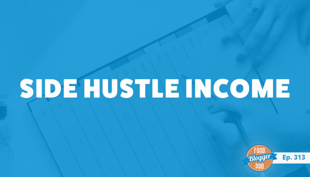 An image of a paper planner and the title of Charli Prangley's episode on the Food Blogger Pro Podcast, 'Side Hustle Income.'